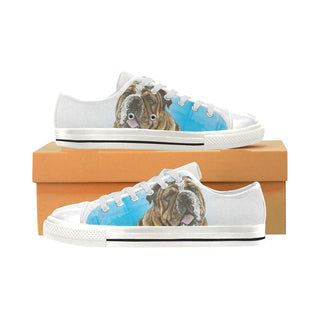 English Bulldog Water Colour No.1 White Women's Classic Canvas Shoes - TeeAmazing