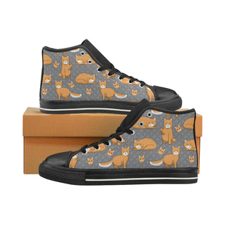 LaPerm Black High Top Canvas Women's Shoes/Large Size (Model 017) - TeeAmazing