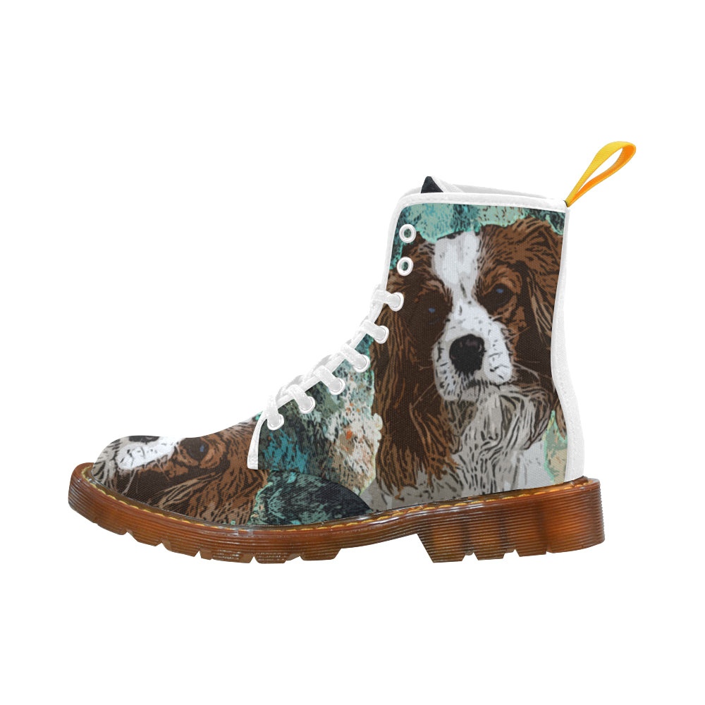 Cavalier King Charles Spaniel White Boots For Men - TeeAmazing