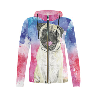 Pug Water Colour No.1 All Over Print Full Zip Hoodie for Women - TeeAmazing