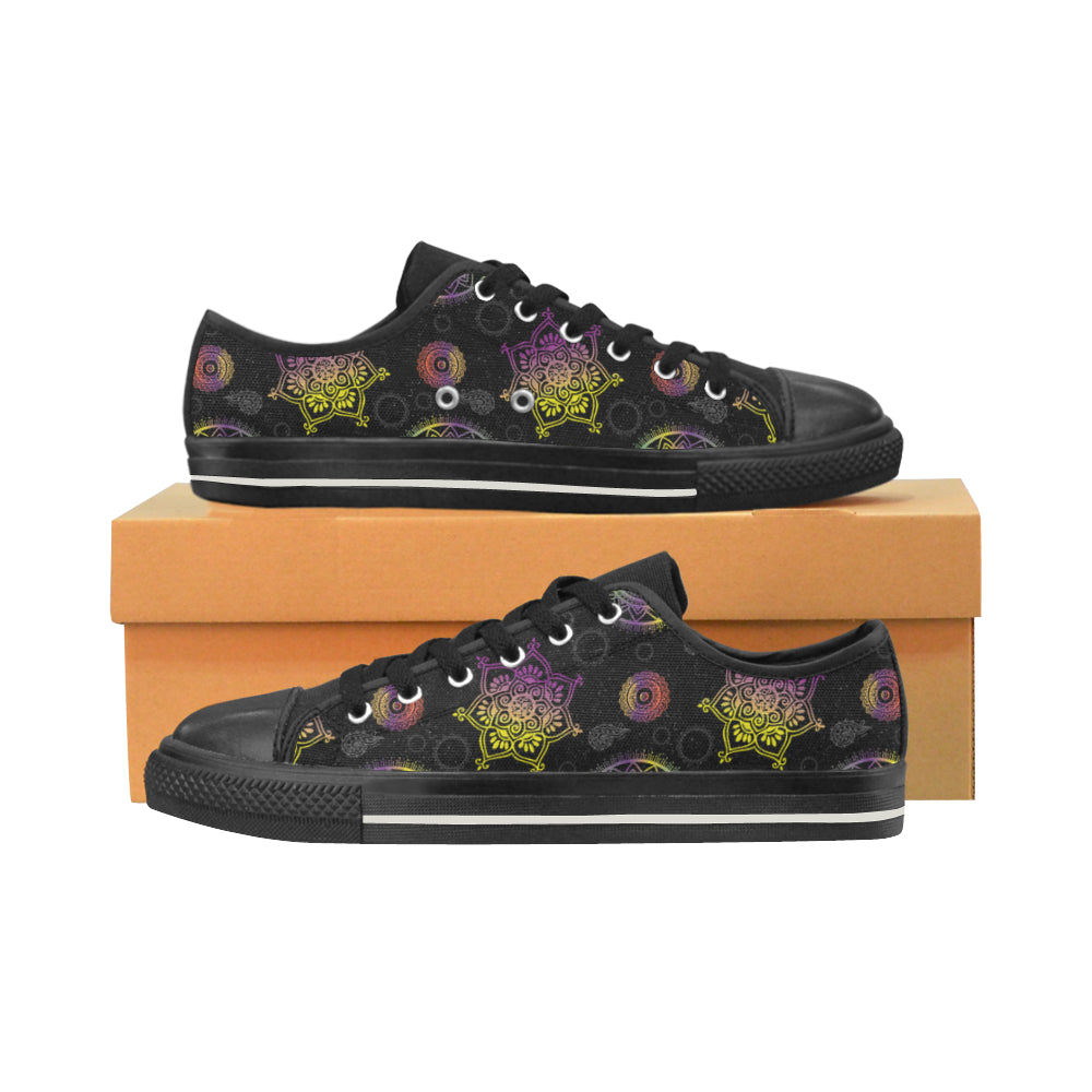Chakra Black Canvas Women's Shoes/Large Size - TeeAmazing