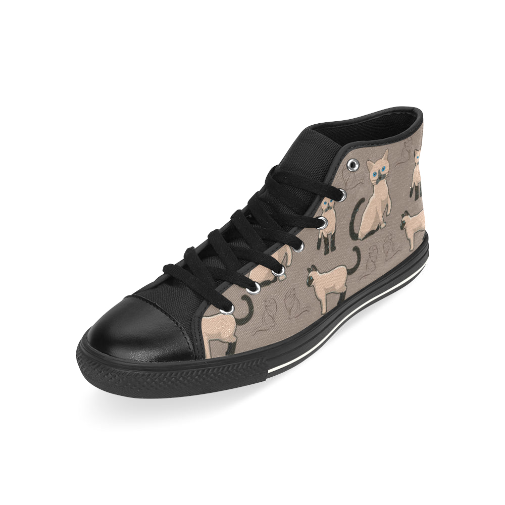 Tonkinese Cat Black High Top Canvas Shoes for Kid (Model 017) - TeeAmazing