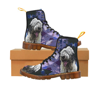 Old English Sheepdog Black Martin Boots For Men Model 1203H - TeeAmazing