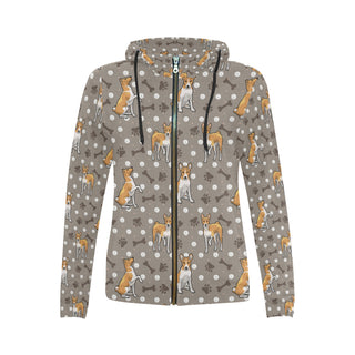 Basenji All Over Print Full Zip Hoodie for Women (Model H14) - TeeAmazing