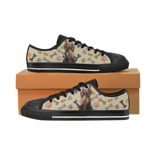 Doberman Dog Black Men's Classic Canvas Shoes/Large Size - TeeAmazing