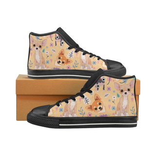 Chihuahua Flower Black High Top Canvas Women's Shoes/Large Size (Model 017) - TeeAmazing
