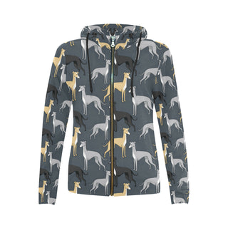 Greyhound All Over Print Full Zip Hoodie for Women (Model H14) - TeeAmazing