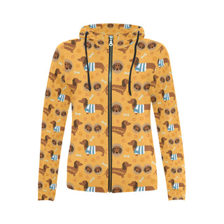 Dachshund Pattern All Over Print Full Zip Hoodie for Women