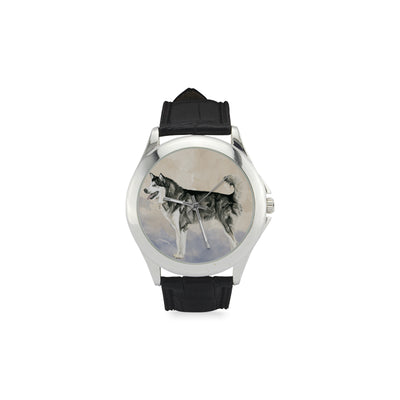 Alaskan Malamute Water Colour Women's Classic Leather Strap Watch(Model 203) - TeeAmazing
