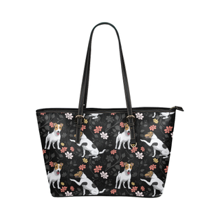 Jack Russell Terrier Flower Leather Tote Bag/Small (Model 1651) - TeeAmazing