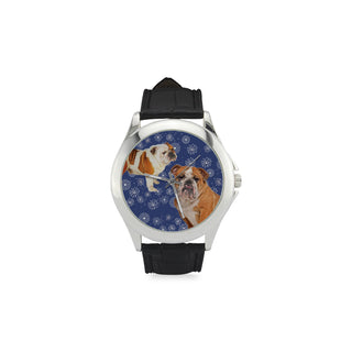 English Bulldog Lover Women's Classic Leather Strap Watch - TeeAmazing