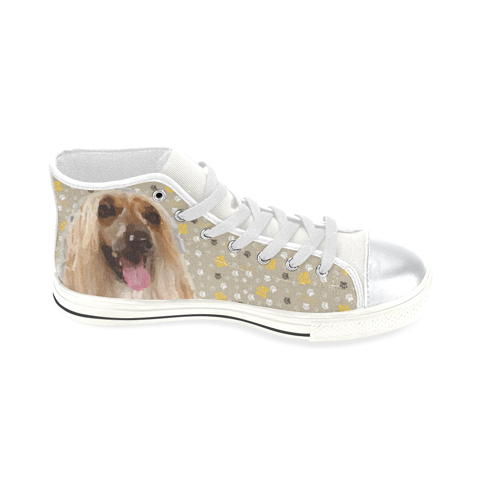 Afghan Hound White High Top Canvas Women's Shoes/Large Size - TeeAmazing