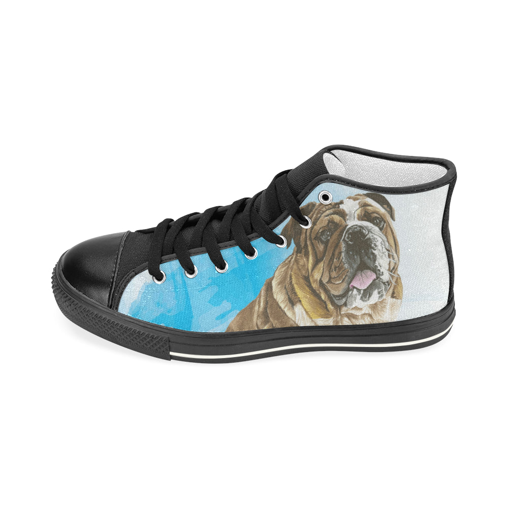 English Bulldog Water Colour No.1 Black Men's Classic High Top Canvas Shoes - TeeAmazing