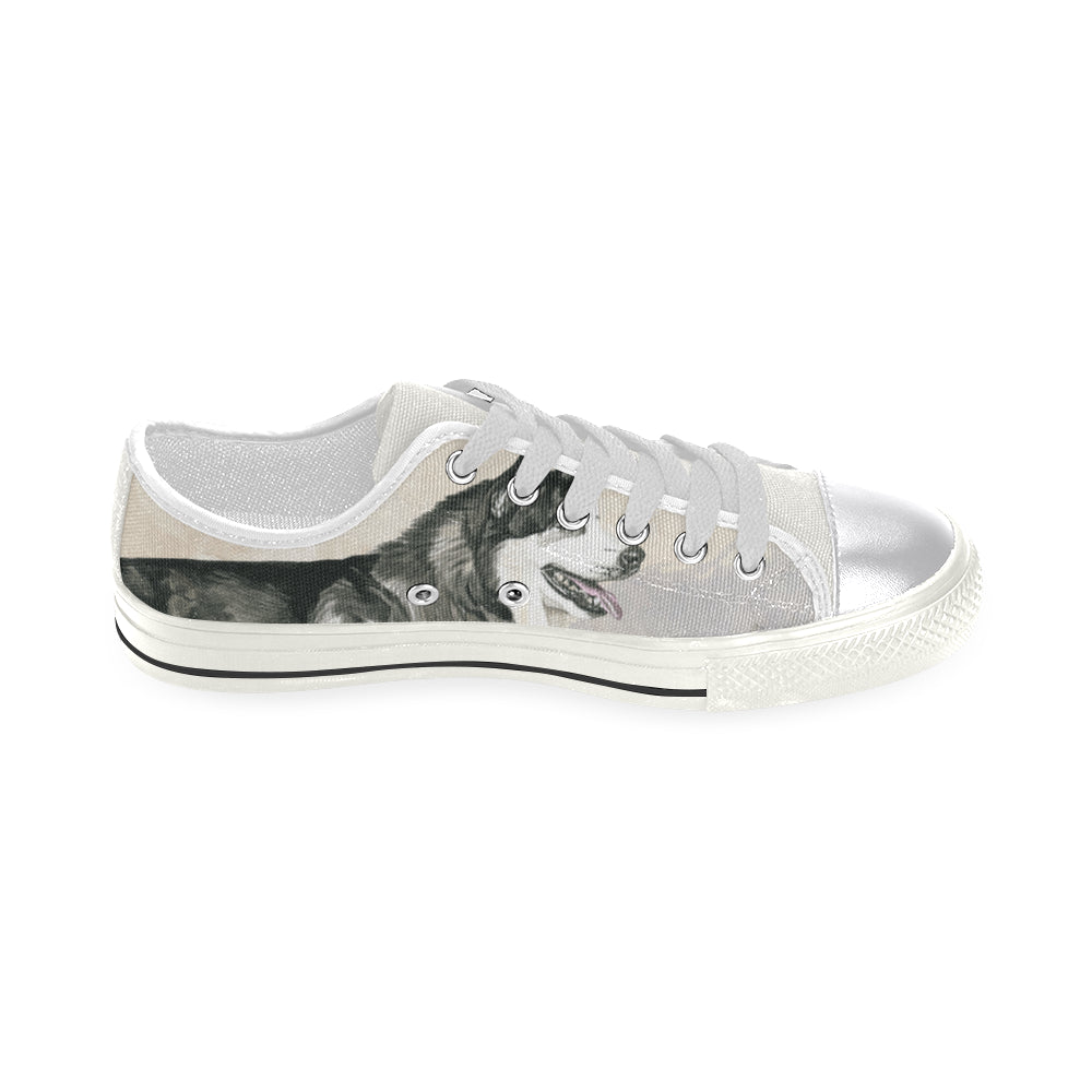 Alaskan Malamute Water Colour White Women's Classic Canvas Shoes - TeeAmazing