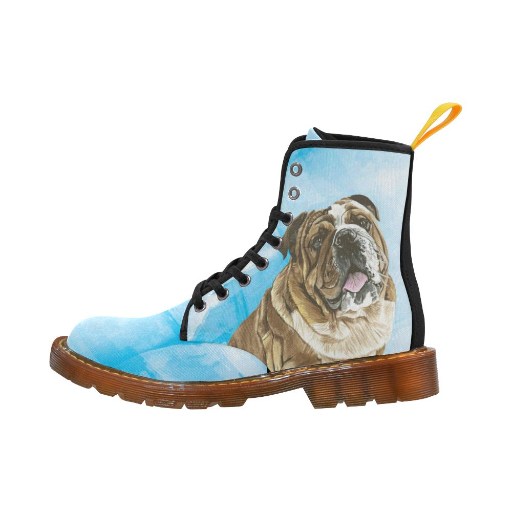 English Bulldog Water Colour No.1 Black Boots For Women - TeeAmazing