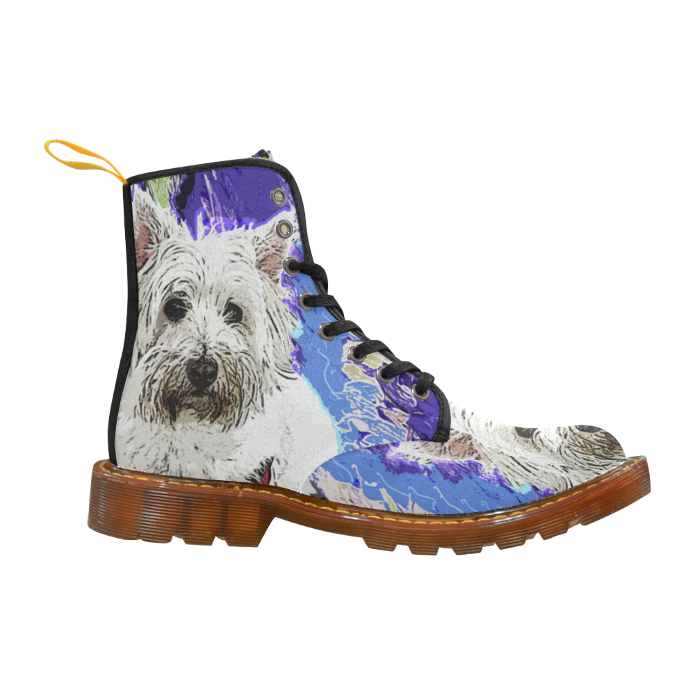West Highland White Terrier Black Boots For Women - TeeAmazing