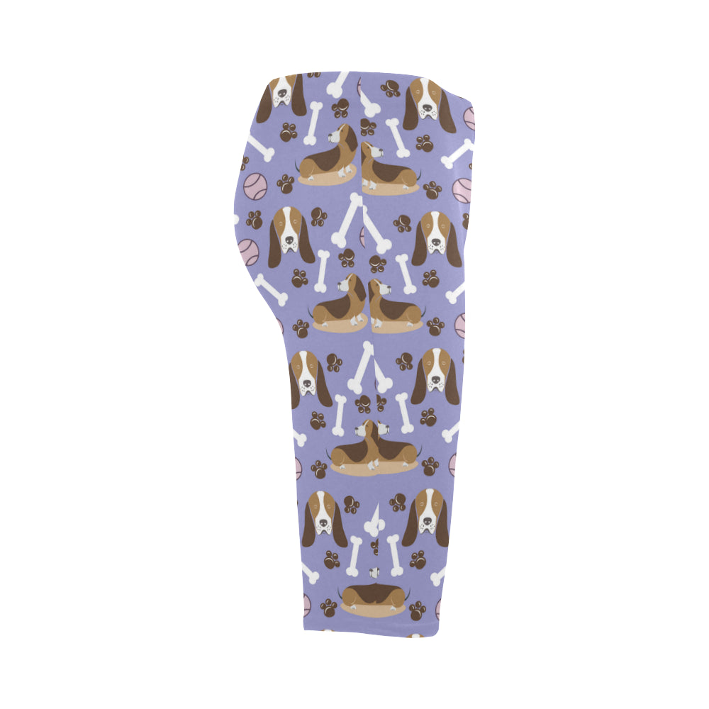 Basset Hound Pattern Hestia Cropped Leggings - TeeAmazing