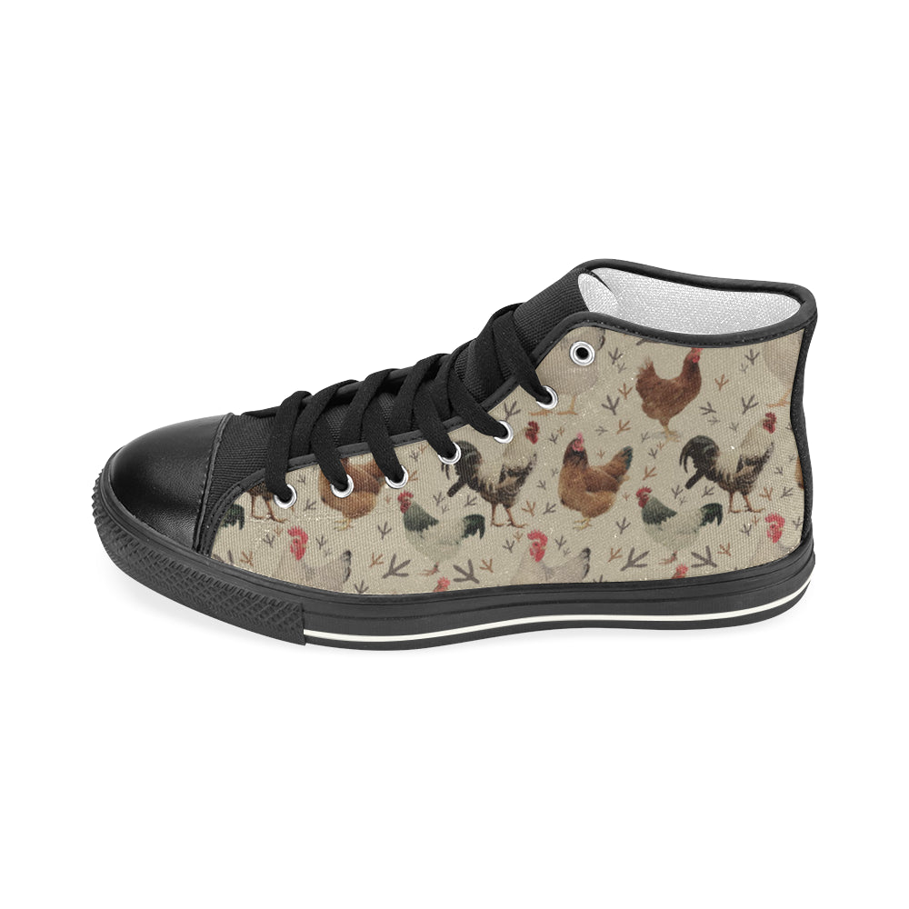 Chicken Black Women's Classic High Top Canvas Shoes - TeeAmazing