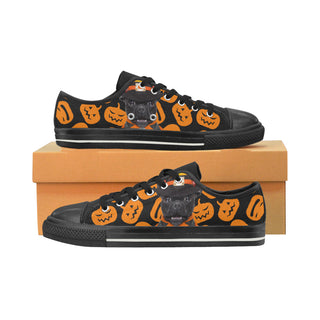 French Bulldog Halloweeen Black Canvas Women's Shoes/Large Size (Model 018) - TeeAmazing