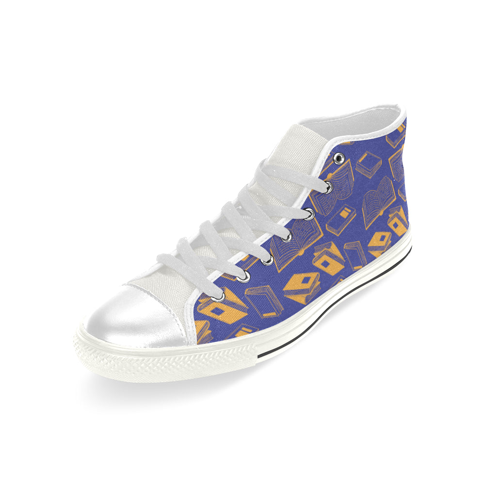 Book Pattern White Men's Classic High Top Canvas Shoes - TeeAmazing