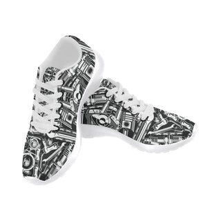 Biker Engine White Sneakers Size 13-15 for Men - TeeAmazing