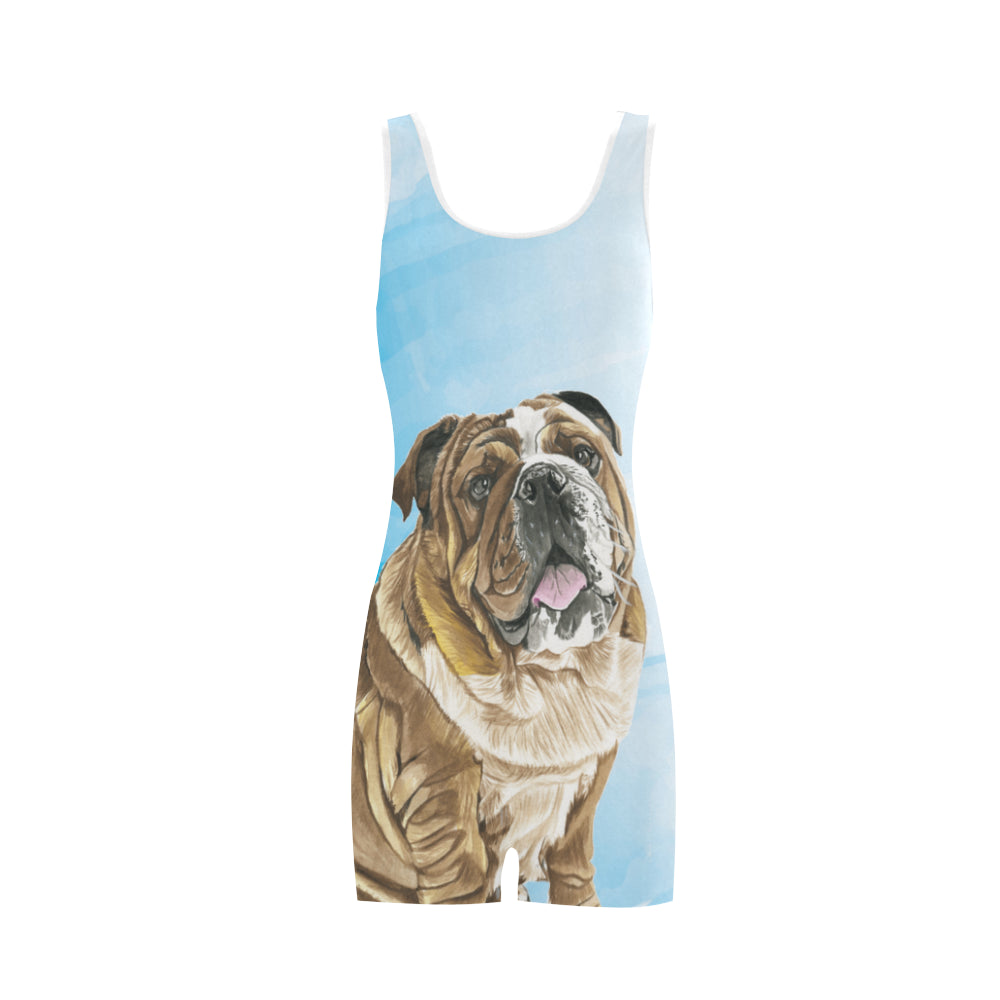English Bulldog Water Colour No.1 Classic One Piece Swimwear - TeeAmazing