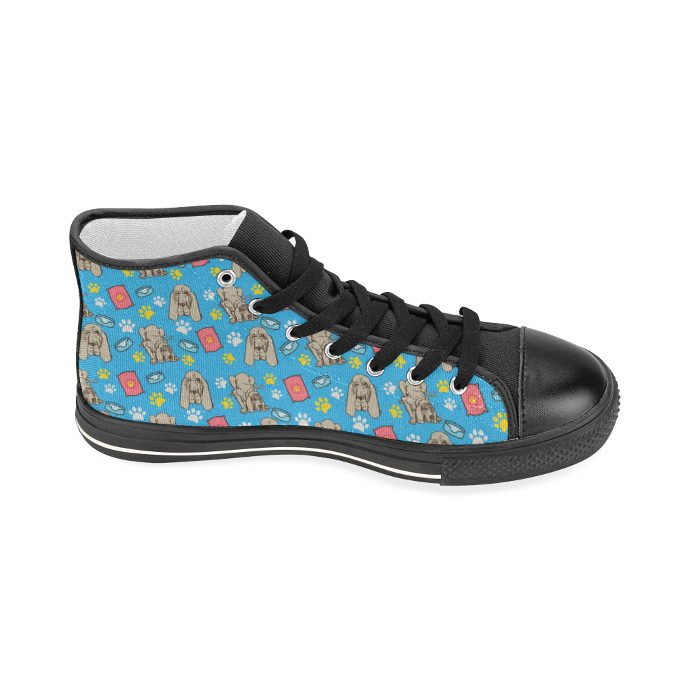 Bloodhound Pattern Black Women's Classic High Top Canvas Shoes - TeeAmazing