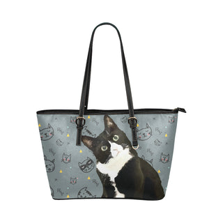 Tuxedo Cat Leather Tote Bag/Small - TeeAmazing