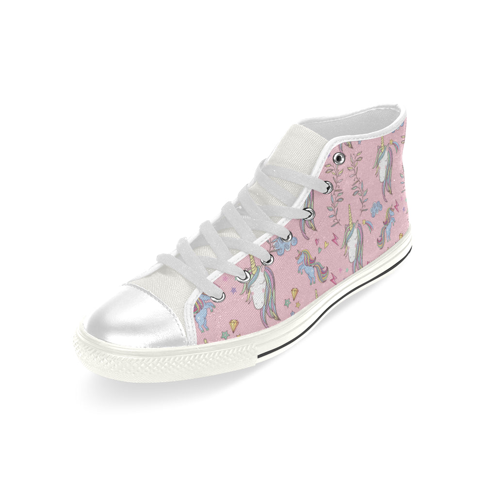 Unicorn Pattern V2 White Men's Classic High Top Canvas Shoes - TeeAmazing