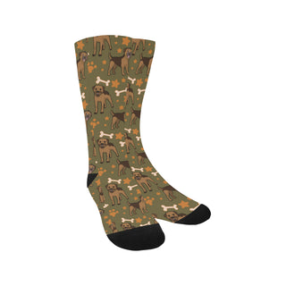 Border Terrier Pattern Trouser Socks - TeeAmazing