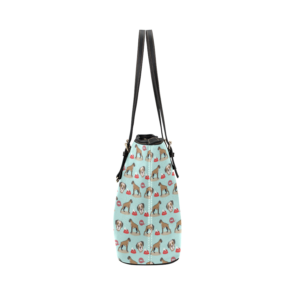 Boxer Pattern Leather Tote Bag/Small - TeeAmazing