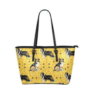 Collie Leather Tote Bag/Small (Model 1651) - TeeAmazing