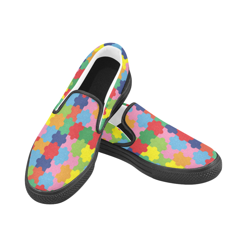 Autism Black Women's Slip-on Canvas Shoes - TeeAmazing