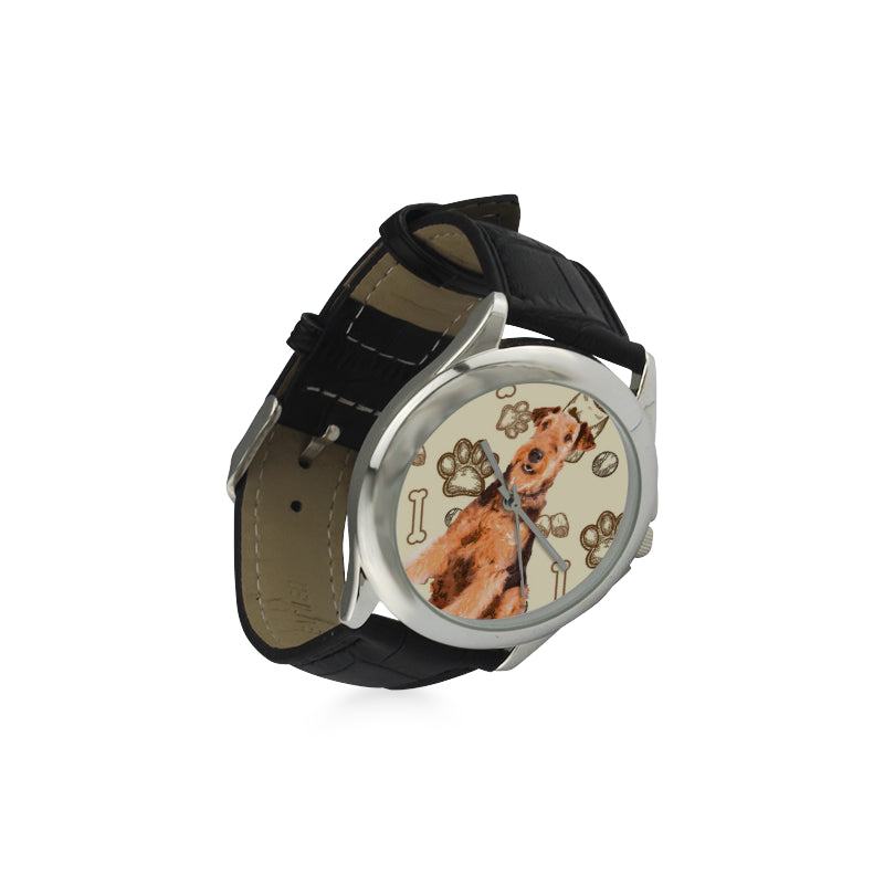 Airedale Terrier Women's Classic Leather Strap Watch - TeeAmazing