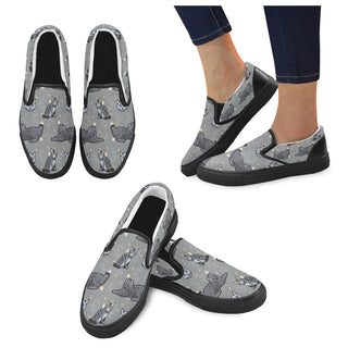 Highlander Cat Black Women's Slip-on Canvas Shoes - TeeAmazing