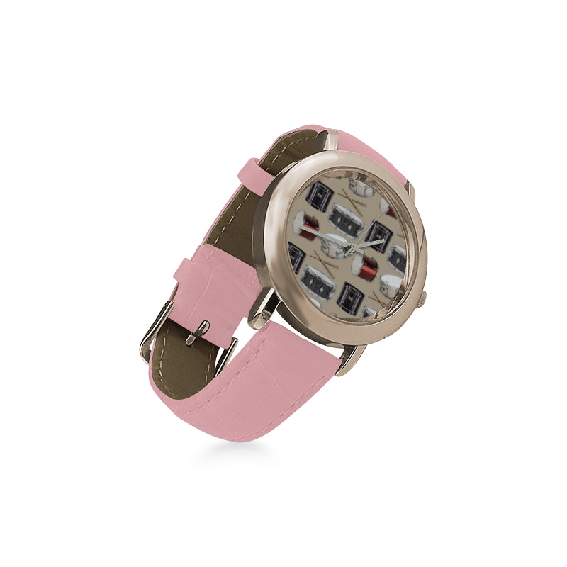 Drum Pattern Women's Rose Gold Leather Strap Watch - TeeAmazing