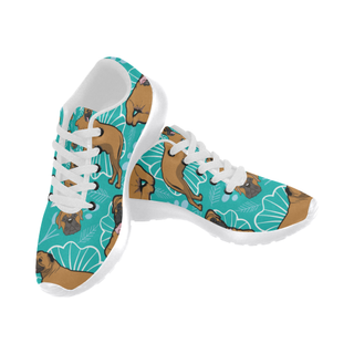 Bullmastiff Flower White Sneakers for Women - TeeAmazing