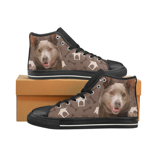 Australian Kelpie Dog Black High Top Canvas Women's Shoes/Large Size (Model 017) - TeeAmazing