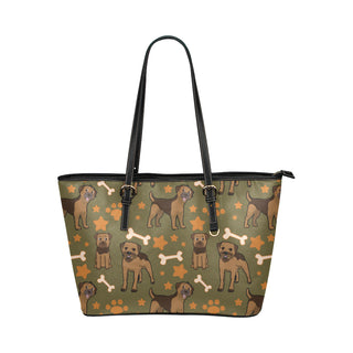 Border Terrier Pattern Leather Tote Bag/Small - TeeAmazing