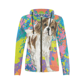 Cavalier King Charles Spaniel Water Colour No.2 All Over Print Full Zip Hoodie for Women (Model H14) - TeeAmazing