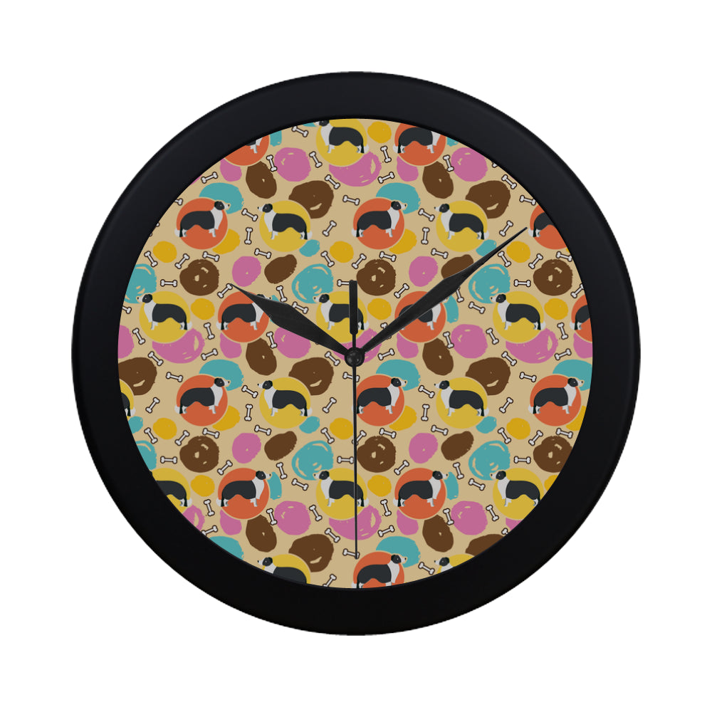 Border Collie Pattern Black Circular Plastic Wall clock - TeeAmazing