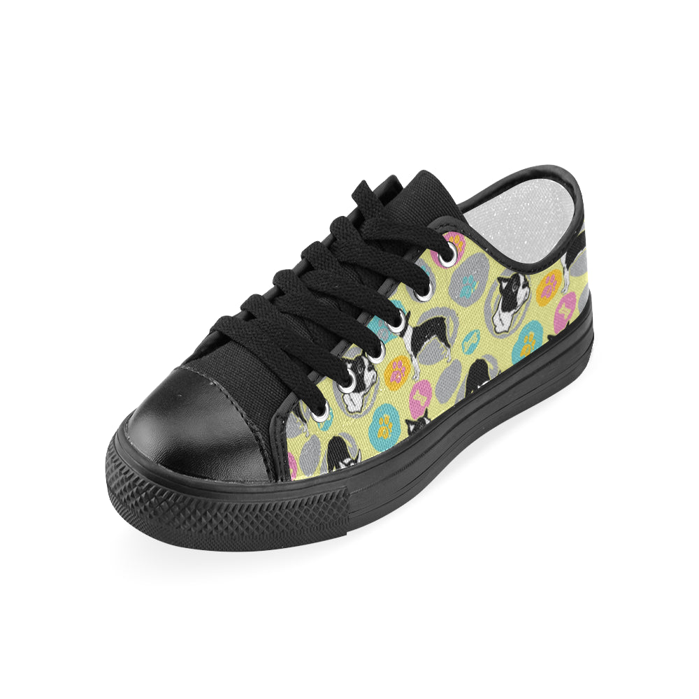Boston Terrier Pattern Black Women's Classic Canvas Shoes - TeeAmazing