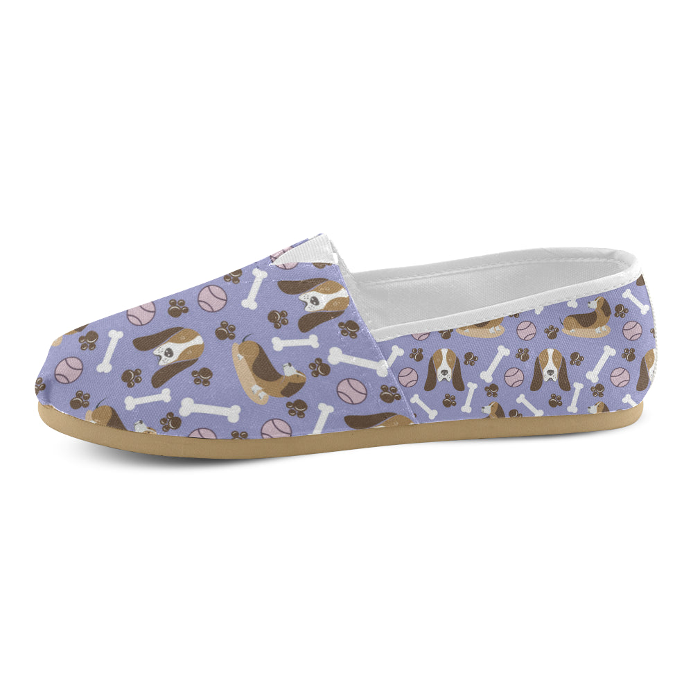 Basset Hound Pattern Women's Casual Shoes - TeeAmazing