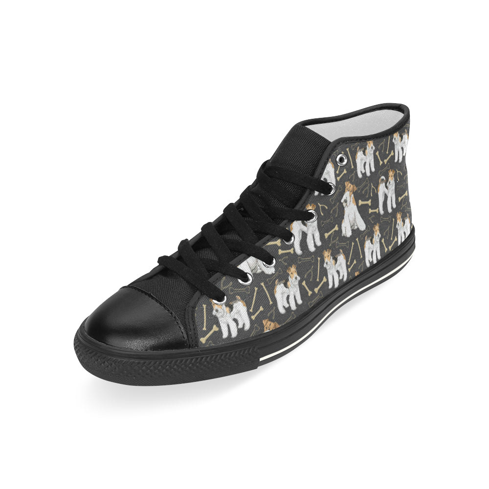 Wire Hair Fox Terrier Black Men's Classic High Top Canvas Shoes - TeeAmazing
