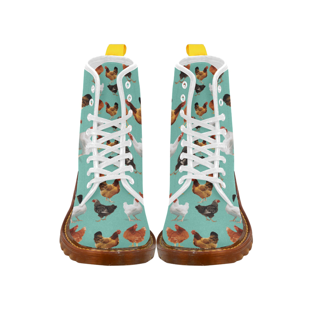 Chicken Pattern White Boots For Men - TeeAmazing