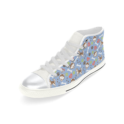 Alaskan Malamute Pattern White High Top Canvas Women's Shoes/Large Size (Model 017) - TeeAmazing