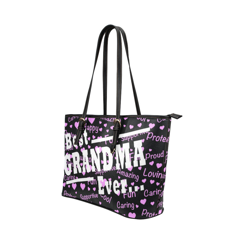 Best Grandma Ever Leather Tote Bag/Small - TeeAmazing