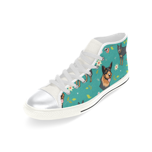 Australian Cattle Dog Flower White High Top Canvas Women's Shoes/Large Size (Model 017) - TeeAmazing