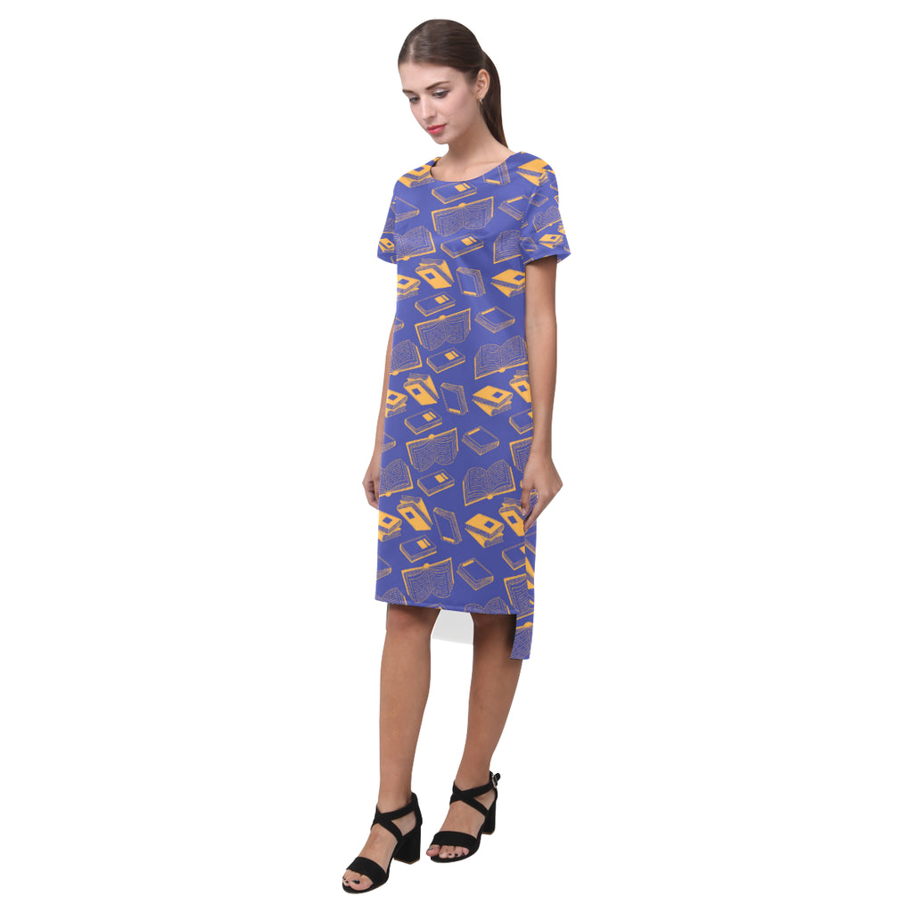 Book Pattern Short Sleeves Casual Dress - TeeAmazing