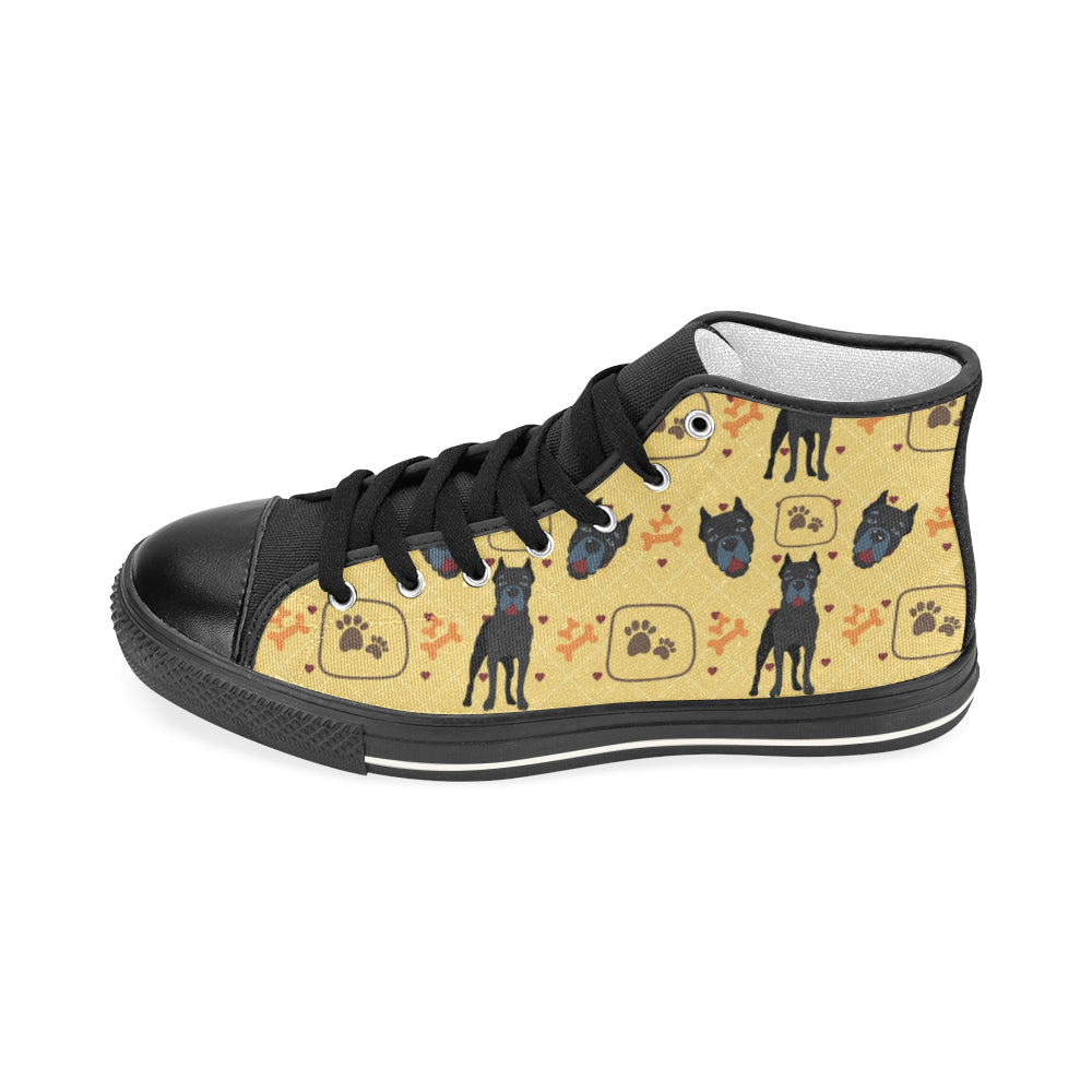 Cane Corso Pattern Black Women's Classic High Top Canvas Shoes - TeeAmazing
